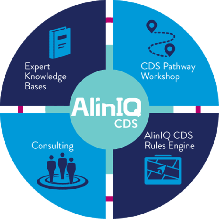 Imagen de la rueda AlinIQ Clinical Decision Making (CDS, toma de decisiones clínicas)